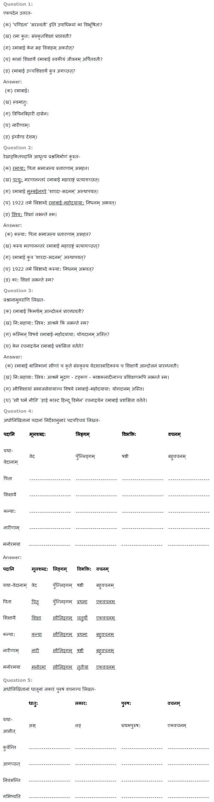 NCERT Solutions for Class 7th Sanskrit Chapter 5 - पण�डिता रमाबाई