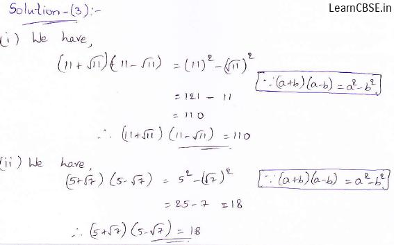RD Sharma class 9 maths Solutions chapter 3 Rationalisation Exercise 3.1 Question 3 (i) (ii)
