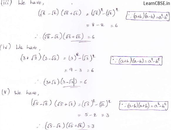 RD Sharma class 9 maths Solutions chapter 3 Rationalisation Exercise 3.1 Question 3 (iii) (iv) (v)